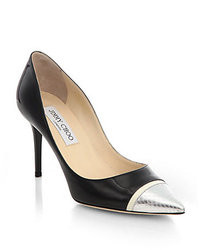 Jimmy Choo Bahama Patent Leather Snakeskin Cap Toe Pumps