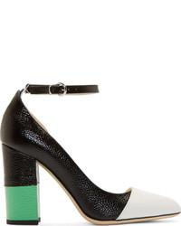 Black colorblock leather asymmetric pumps medium 183143