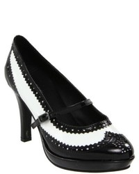 Ellie 414 Flapper Black White Pointed Toe Pumps