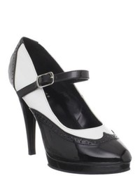 Pleaser Flair 486 Black White Mary Jane Pumps