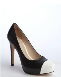 Pour La Victoire Black And White Leather Cap Toe Platform Pumps