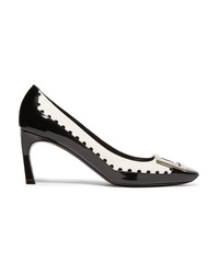 Roger Vivier Trompette Perforated Smooth And Patent Leather Pumps