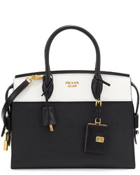 55172f6a38 ... Prada Esplanade Medium Bicolor City Satchel Bag Blackwhite ...