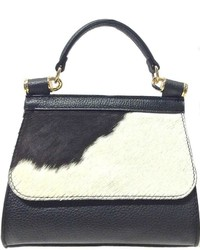 Leather Country Black White Satchel