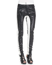 Faith Connexion Python Embossed Paneled Leather Pants Blackwhite