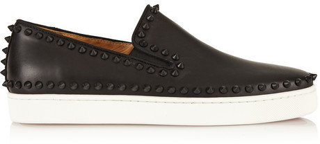 new style 16085 ac1cf $795, Christian Louboutin Pik Boat Spiked Leather Slip On Sneakers