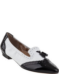Black and White Leather Tassel Loafers