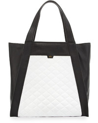 Cushion quilted leather tote bag blackwhite medium 972322
