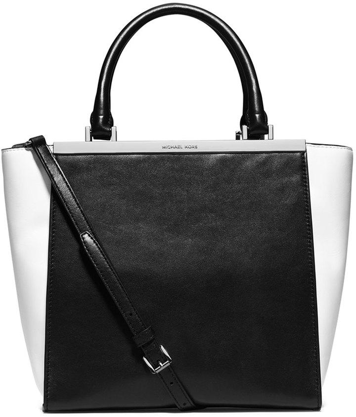 d49b45e158755b ... MICHAEL Michael Kors Michl Michl Kors Lana Medium Colorblock Tote Bag  Blackoptic White ...