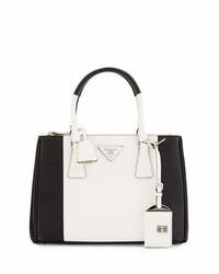 Prada Bicolor Saffiano Lux Tote Bag Blackwhite