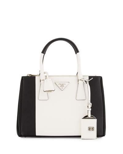 f9117838d0 ... greece prada prada bicolor saffiano lux tote bag black white nero  bianco e1508 30886