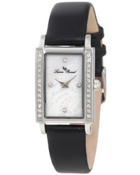 Lucien Piccard 11673 02mop Blk Monte Baldo Crystal Accented White Patterned Mother Of Pearl Dial Black Leather Watch