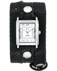 La Mer Collections Lmstw3004 Stainless Steel Watch With Black Perforated Leather Strap