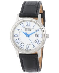 Citizen Ew1568 04a Eco Drive Stainless Steel Watch With Black Genuine Leather Band