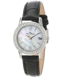 Lucien Piccard Lp 12006 02mop Veleta White Mother Of Pearl Dial Swarovski Crystal Accents Black Leather Watch
