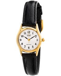 Casio Ltp1094q 7b2rdf Black Leather Ladies Analog Watch