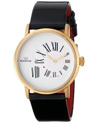 Marvin M025522564 Origin White Dial Rose Gold Plated Black Patent Leather Strap Watch