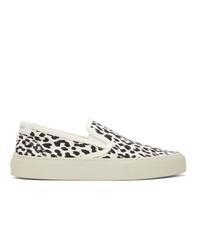 Saint Laurent Black And White Venice Slip On Sneakers