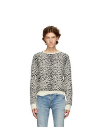 Saint Laurent White And Black Destroyed Sweater