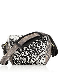 Black and White Leopard Leather Satchel Bag