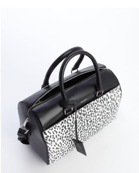 0a2b837e39 ... Saint Laurent Black Leather Animal Print Convertible Top Handle Duffle  Bag ...