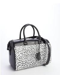 0a2b837e39 ... Saint Laurent Black Leather Animal Print Convertible Top Handle Duffle  Bag ...
