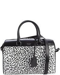 Saint Laurent Black Leather Animal Print Convertible Top Handle Duffle Bag