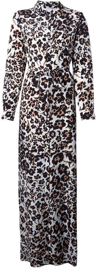 53d6623139 Diane von Furstenberg Maxi Leopard Print Shirt Dress