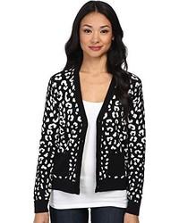C c california leopard jacquard print sweater cardigan medium 426673