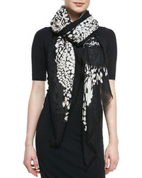 Diane von Furstenberg Grace Feather Leopard Scarf Blackwhite