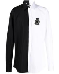 Dolce & Gabbana Two Tone Embroidered Logo Shirt