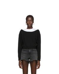 alexanderwang.t Black Cropped Bi Layer Sweater
