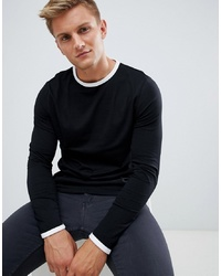 ASOS DESIGN Long Sleeve T Shirt With Contrast Ringer In Black