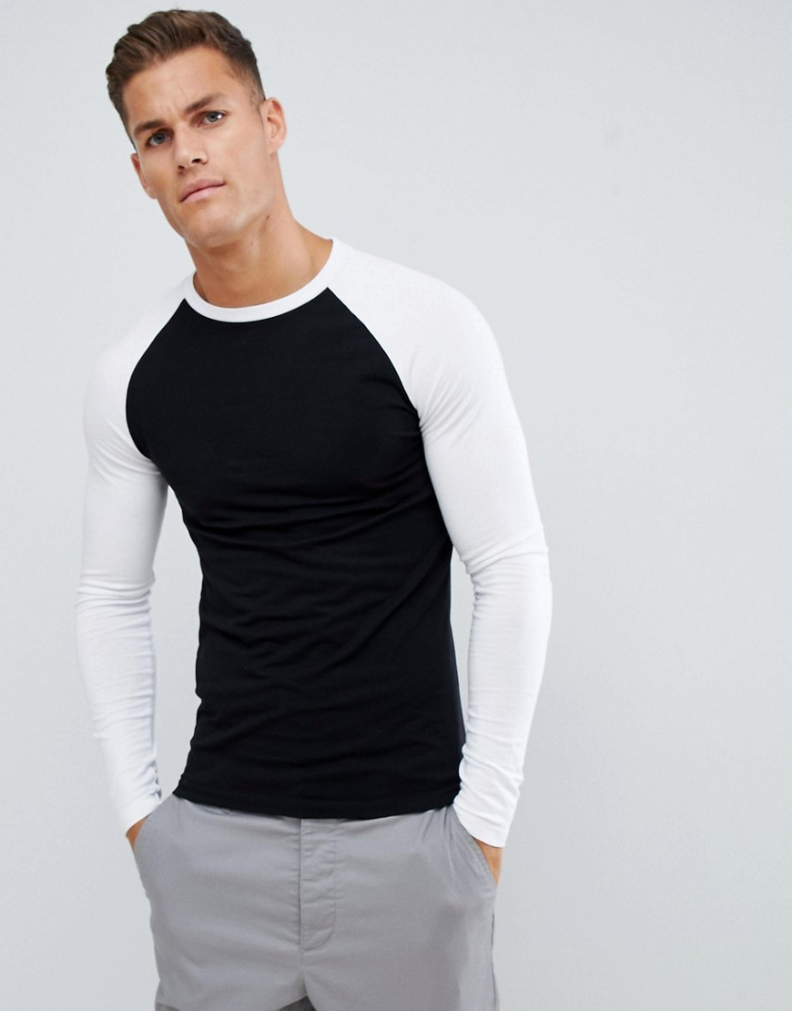 7f31cc62e3a Muscle Fit Long Sleeve T Shirt With Contrast Raglan Sleeves