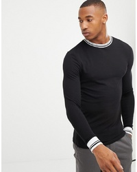 cc0f716e ... ASOS DESIGN Muscle Fit Long Sleeve T Shirt With Tipping In Black