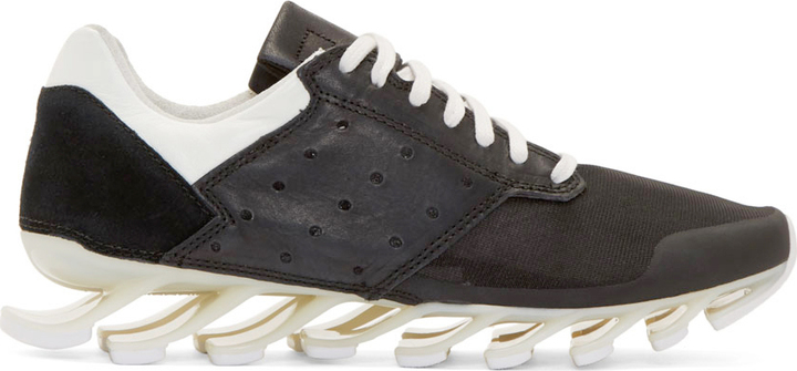 buy online c49ee a4046 $890, Rick Owens Black White Adidas By Springblade Sneakers