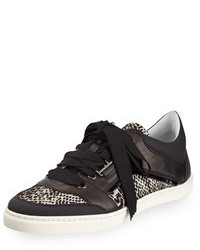 Lanvin Jacquard And Leather Low Sneaker