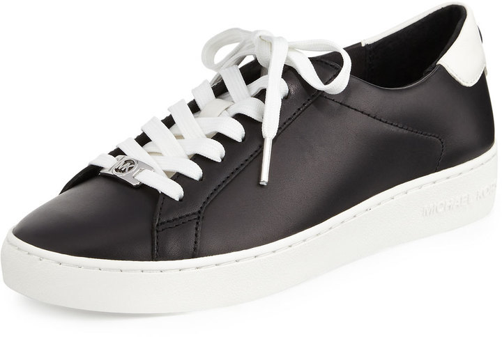 cfa723d4c14f ... Black and White Low Top Sneakers MICHAEL Michael Kors Michl Michl Kors  Irving Leather Lace Up Sneaker Blackoptic White ...
