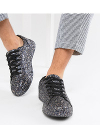 ASOS DESIGN Wide Fit Trainers In Black Glitter
