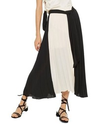 Topshop Colorblock Pleated Midi Skirt