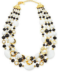 Jose & Maria Barrera Black White Multi Strand Necklace