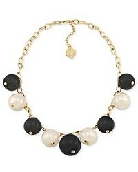 Carolee Necklace 12k Gold Plated Black And White Glass Pearl And Pave Dice Bead Charm Necklace