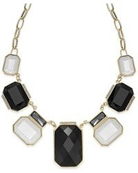 INC International Concepts 14k Gold Plated Black And White Stone Frontal Necklace