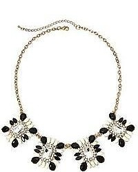 jcpenney Mixit Gold Tone Crystal Black And White Statet Necklace