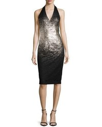David Meister Ombre Foil Halter Cocktail Dress Silverblack