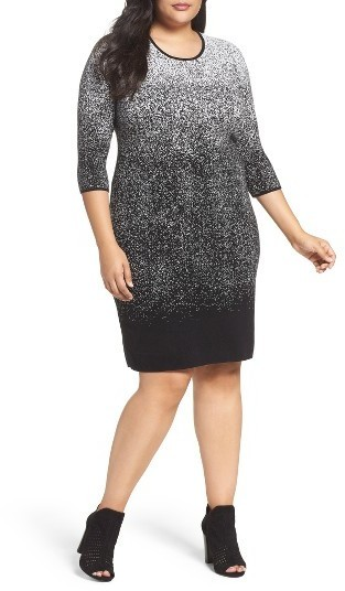 $109, Vince Camuto Plus Size Ombre Jacquard Sweater Dress