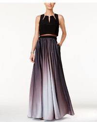 Betsy & Adam Illusion 2 Pc Ombr A Line Gown