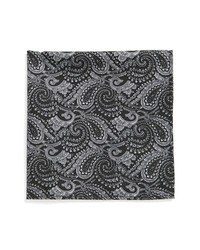 Topman Paisley Pocket Square Black One Size