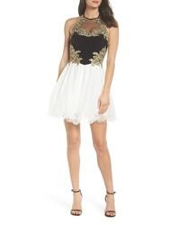 Blondie Nites Applique Bodice Fit Flare Halter Dress