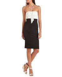 Charlotte Russe Chiffon Bow Midi Tube Dress